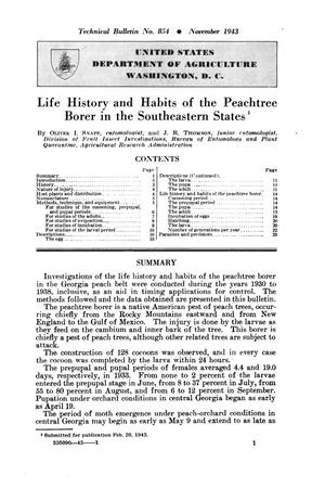 Primary view of object titled 'Life history and habits of the peachtree borer in the Southeastern states.'.