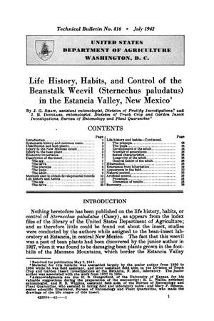 Primary view of object titled 'Life history, habits, and control of the beanstalk weevil (Sternechus paludatus) in the Estancia Valley, New Mexico.'.
