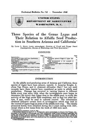 Primary view of object titled 'Three species of the genus Lygus and their relation to alfalfa seed production in southern Arizona and California.'.