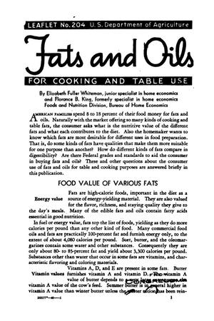 Primary view of object titled 'Fats and oils for cooking and table use.'.