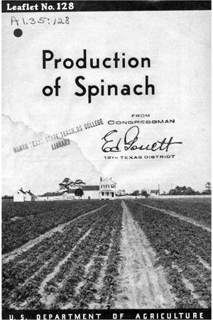 Primary view of object titled 'Production of spinach.'.
