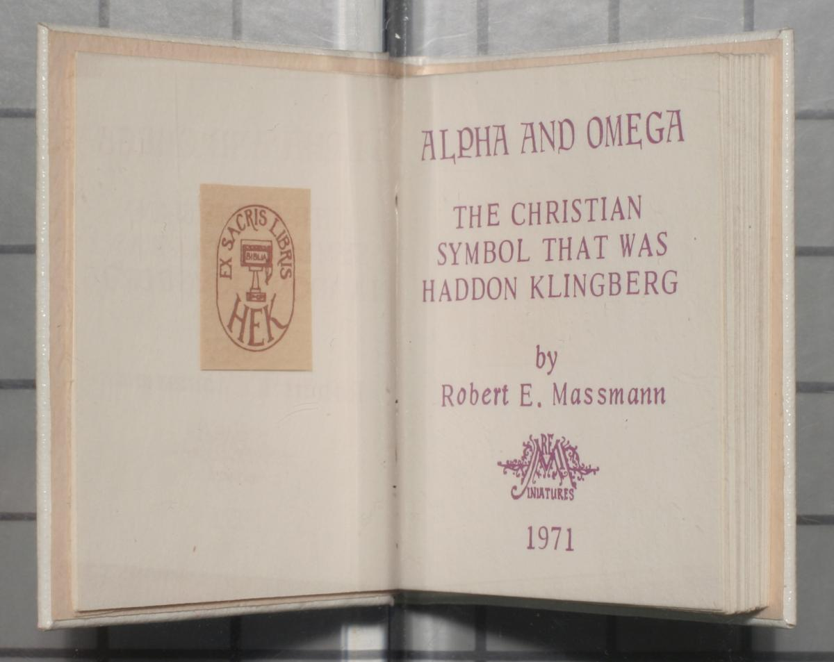 Alpha and omega: the Christian symbol that was Hadon Klingberg.                                                                                                      [Sequence #]: 3 of 24