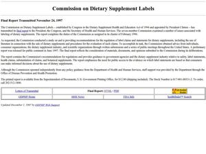 Primary view of object titled 'Commission on Dietary Supplement Labels'.
