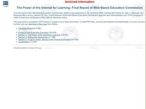 The Power of the Internet for Learning: Final report of Web-Based Education Commission