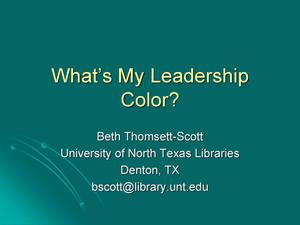 Primary view of object titled 'What's My Leadership Color?'.
