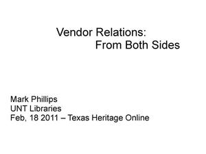 Primary view of object titled 'Vendor Relations: From Both Sides'.