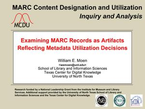 Primary view of object titled 'Examining MARC Records as Artifacts Reflecting Metadata Utilization Decisions'.