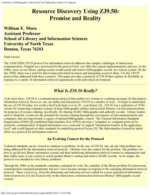 Resource Discovery Using Z39.50: Promise and Reality