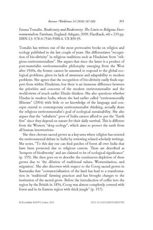 [Review] Biodivinity and Biodiversity: The Limits to Religious Environmentalism