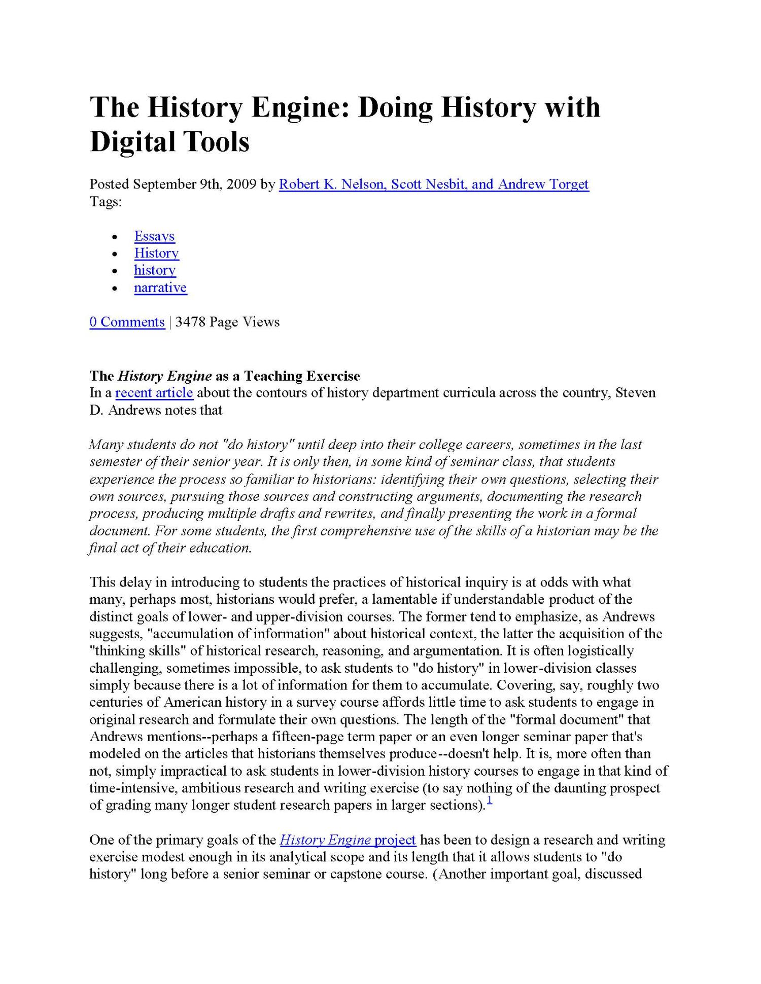 The History Engine: Doing History with Digital Tools                                                                                                      1