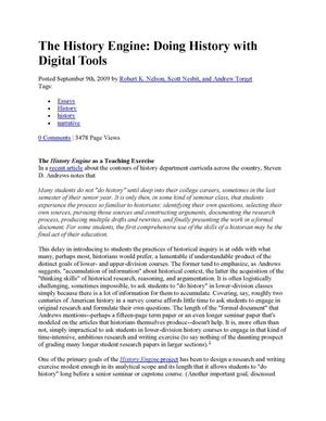 The History Engine: Doing History with Digital Tools