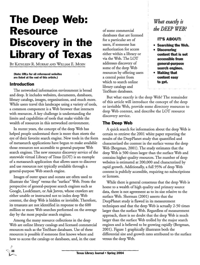 The Deep Web: Resource Discovery in the Library of Texas