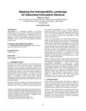 Mapping the Interoperability Landscape for Networked Information Retrieval
