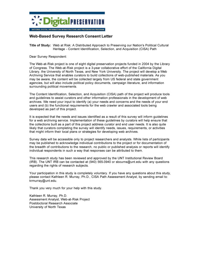 Sample Consent Letter For Research