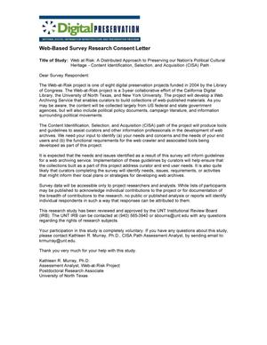 Web-Based Survey Research Consent Letter