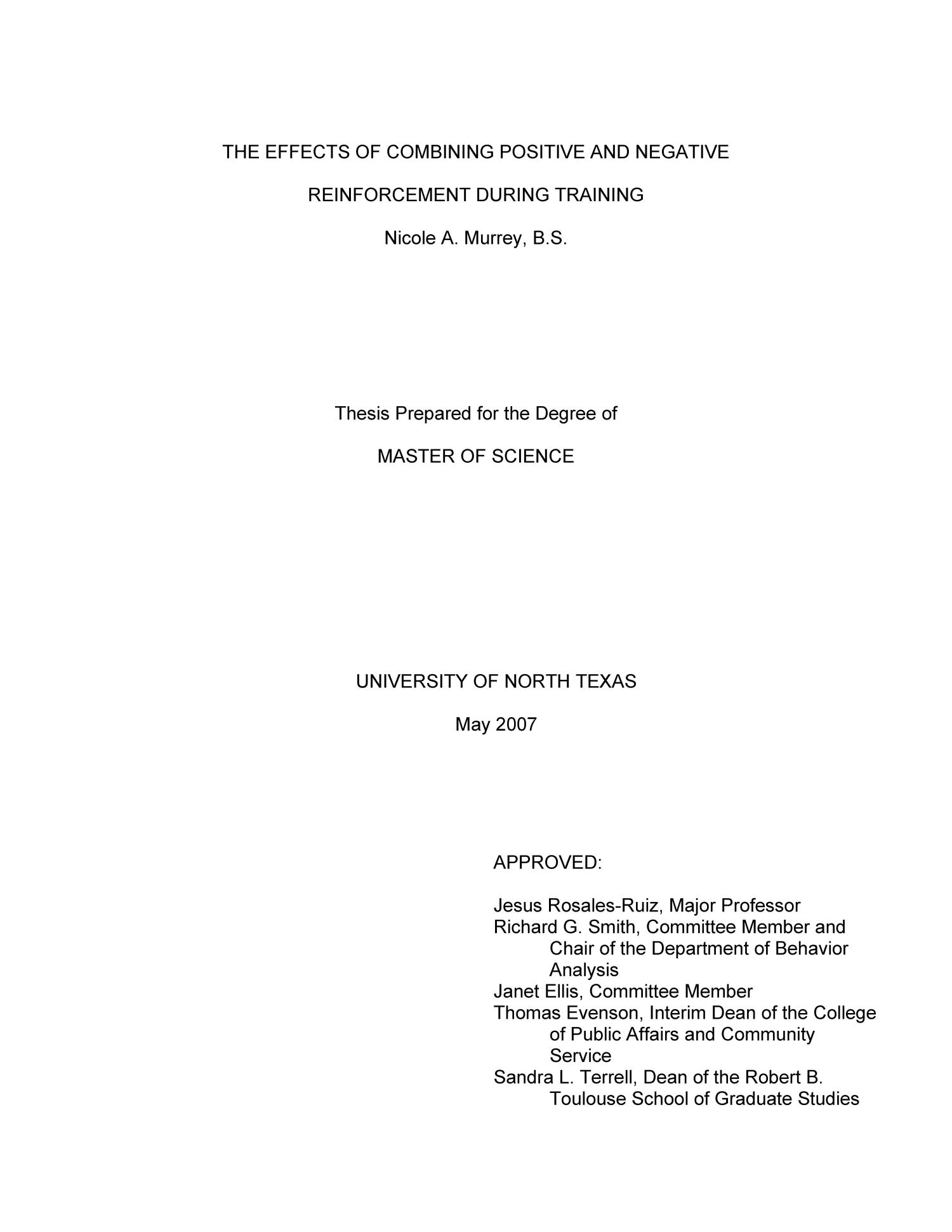 Masters thesis on behavior analysis
