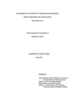 Who Benefits? The Effects of Foreign Aid and Foreign Direct Investment on Human Rights