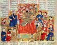 Primary view of Sultan and his Court, illustration from Shahnama (Book of Kings), written by Abu'l-Qasim Manur Firdawsi