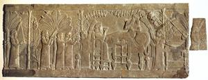 Primary view of object titled 'Banquet of Ashurbanipal, gypsum carving originally decorating the North Palace in Nineveh (present day Iraq)'.