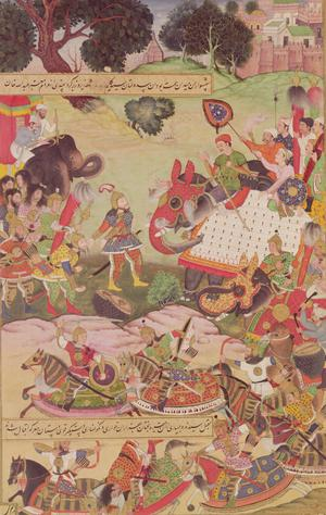 Primary view of Battle Between Forces of Persia and Turan, illustration from Shahnama (Book of Kings), written by Abu'l-Qasim Manur Firdawsi