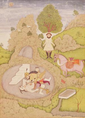 Rustam killing the White Demon, from the Shahnama (Book of Kings) written by Abu'l-Qasim Manur Firdawsi, from the large Clive Album