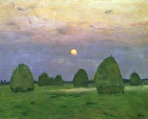 Primary view of object titled 'Hayricks at Dusk'.