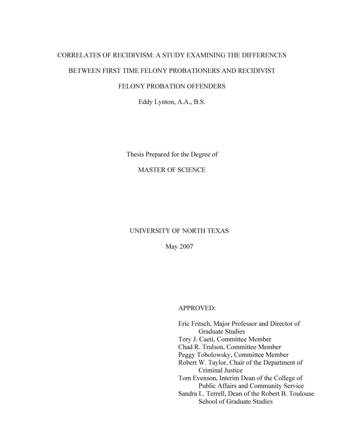 Correlates of Recidivism: A Study Examining the Differences