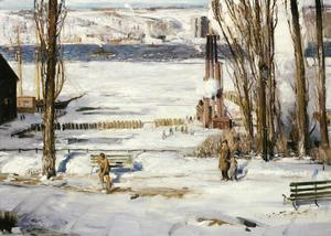 Primary view of object titled 'A Morning Snow -- Hudson River'.