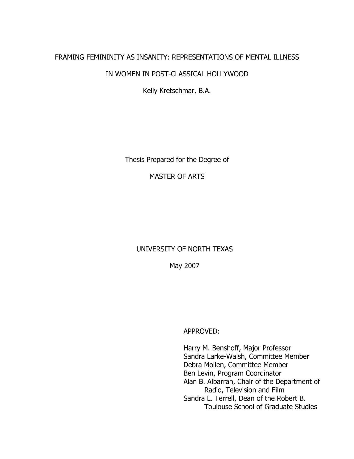 Mental illness thesis