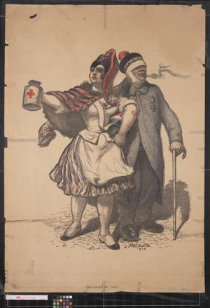 Primary view of object titled '[Marianne and soldier collect for the Red Cross]'.