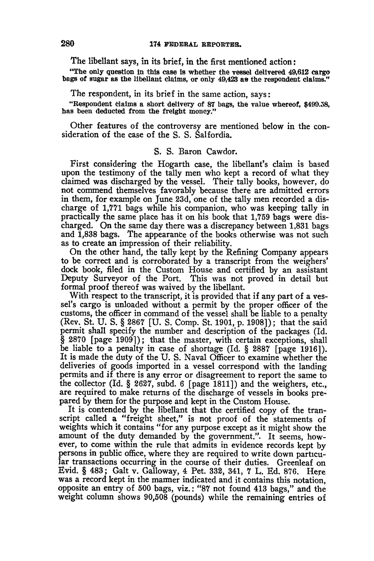 The Federal Reporter (Annotated), Volume 174: Cases Argued and Determined in the Circuit Courts of Appeals and Circuit and District Courts of the United States. January-March, 1910.                                                                                                      280