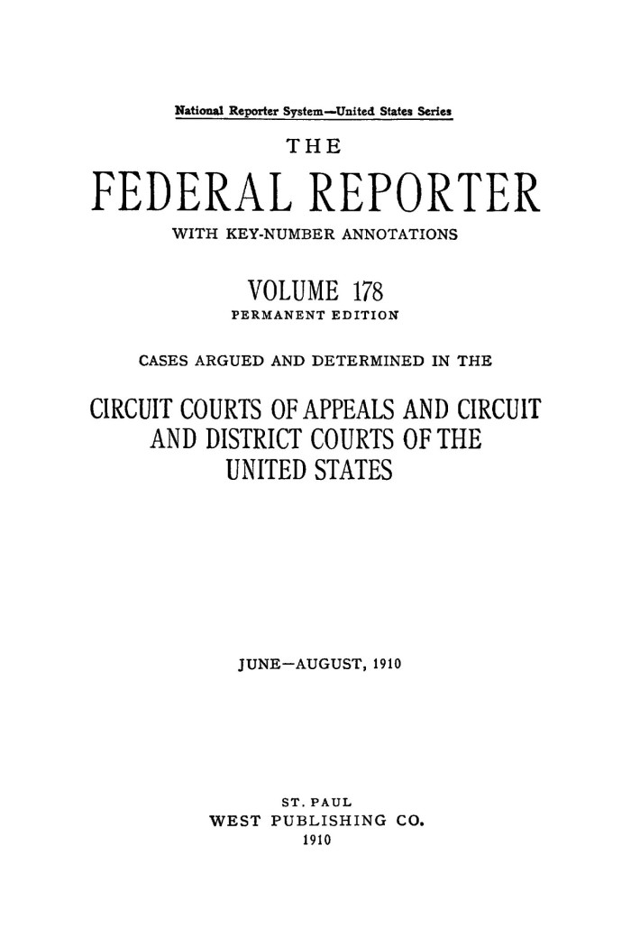 The Federal Reporter with Key-Number Annotations, Volume 178: Cases on us federal judicial districts map, us federal district court map, us federal circuit map,