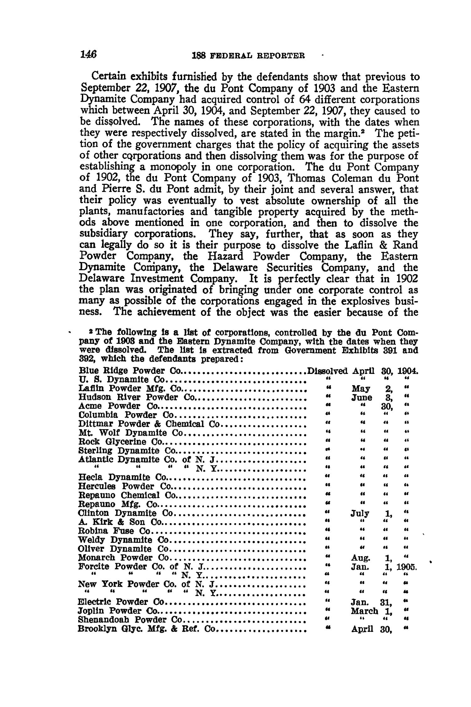 The Federal Reporter with Key-Number Annotations, Volume 188: Cases Argued and Determined in the Circuit Courts of Appeals and Circuit and District Courts of the United States, August-October, 1911.                                                                                                      146