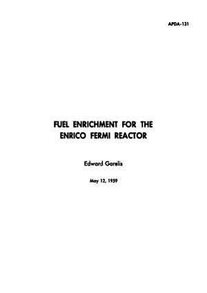 Primary view of object titled 'Fuel Enrichment for the Enrico Fermi Reactor'.