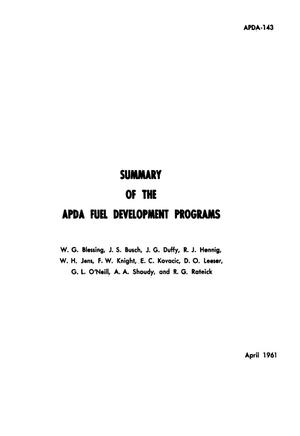 Summary of the APDA Fuel Development Programs