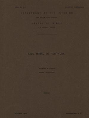 Primary view of object titled 'Talc Mining in New York'.