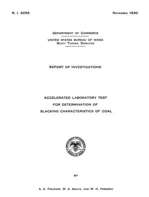 Primary view of Accelerated Laboratory Test for Determination of Slacking Characteristics of Coal