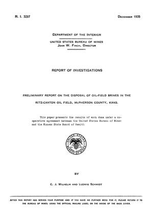 Primary view of object titled 'Preliminary Report on the Disposal of Oil-Field Brines in the Ritz-Canton Oil Field, McPherson County, Kansas'.