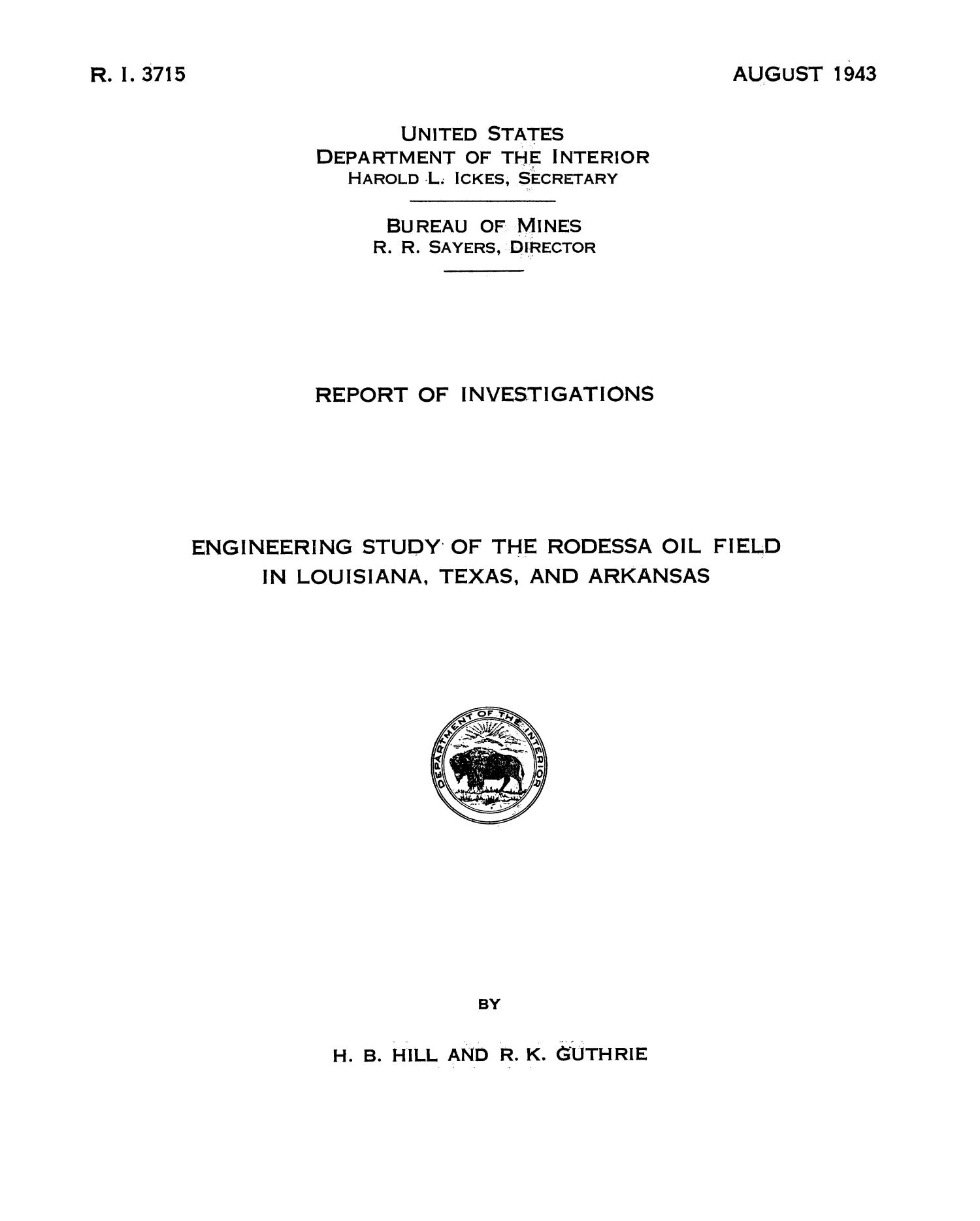engineering study of the rodessa oil field in louisiana texas and arkansas page title page digital library