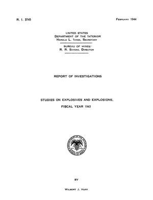 Primary view of object titled 'Studies on Explosives and Explosions, Fiscal Year 1943'.
