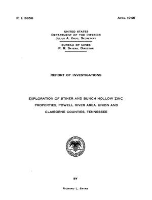 Primary view of object titled 'Exploration of Stiner and Bunch Hollow Zinc Properties, Powell River Area, Union and Claiborne Counties, Tennessee'.