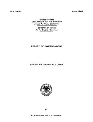 Primary view of Survey of Tin in California