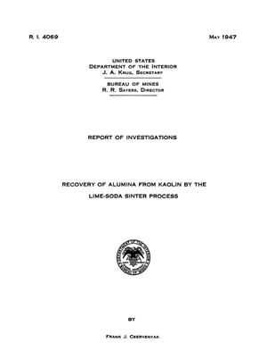 Primary view of object titled 'Recovery of Alumina From Kaolin by the Lime-Soda Sinter Process'.