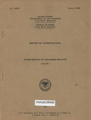 Primary view of object titled 'Investigation of Arkansas Bauxite'.