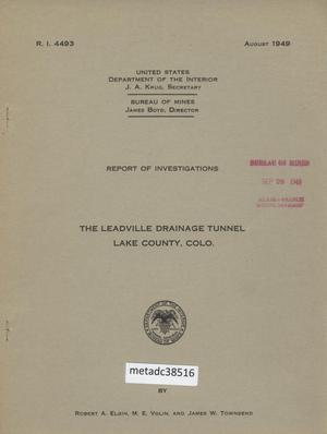 Primary view of object titled 'The Leadville Drainage Tunnel, Lake County, Colorado'.
