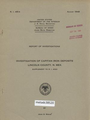 Primary view of object titled 'Investigation of Capitan Iron Deposits, Lincoln County, New Mexico: Supplement to R. I. 4022'.