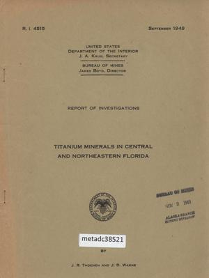 Primary view of object titled 'Titanium Minerals in Central and Northeastern Florida'.