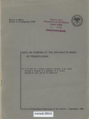 Primary view of object titled 'Data on Pumping at the Anthracite Mines of Pennsylvania'.