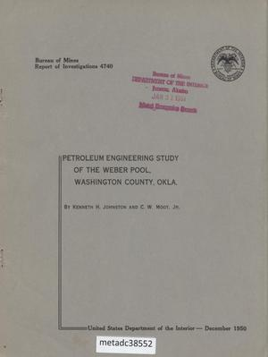 Primary view of object titled 'Petroleum Engineering Study of the Weber Pool, Washington County, Oklahoma'.