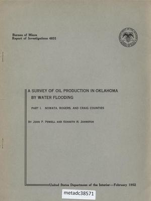 Primary view of object titled 'A Survey of Oil Production in Oklahoma By Water Flooding: Part 1. Nowata, Rogers, and Craig Counties'.